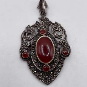 Lot # 31  Vintage Marcasite and Red Jade Necklace Pendant