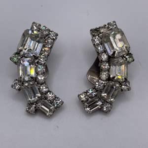 Lot # 52 Vintage Baguette Rhinestone Cluster Earrings