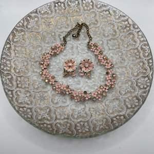 "Lot # 67 Vintage ""BSK"" Costume Jewelry Pink Floral Enamel Earrings on Crystal Glass Dish"