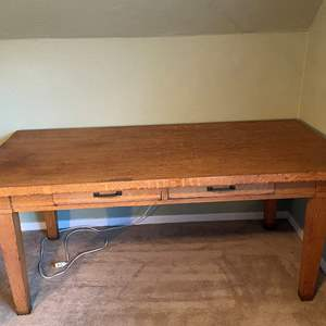Lot # 2 Oak Table / Desk with 2 Slide Out Drawers