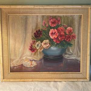 "Lot # 5 Floral Oil Painting, Artist Signed ""Wracek"""