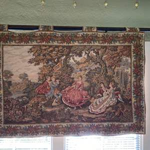 Lot # 9 Vintage French Victorian Courting Couples in Garden Tapestry