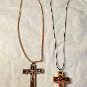 Lot # 14 Lot of 2 Religious Cross Necklaces
