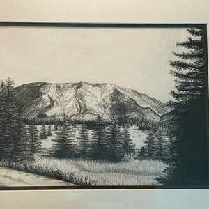"""Lot # 19 Charcoal Etch of Mountains & Trees, Artist Signed """"Kim '95"""""""