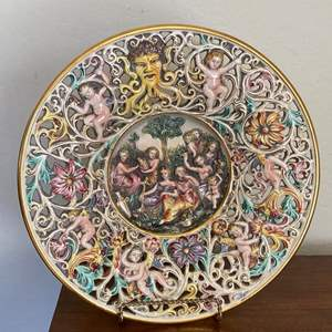 Lot # 28 Capodimonte Italy Large and Very Intricate Plate #3151