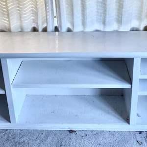 Lot # 42 Long White Wood Shelving Bookcase