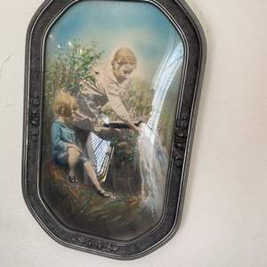 """Lot # 52 Antique Painting of 2 Girls in """"Bubble Pop-Out"""" Glass Frame"""