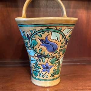 Lot # 68 Floral Vase Basket, Artist Signed