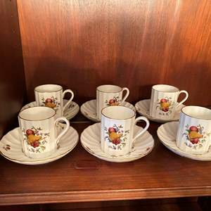 Lot # 72 Set of Hand-Painted Delecta England Demitasse Tea Cups and Saucers