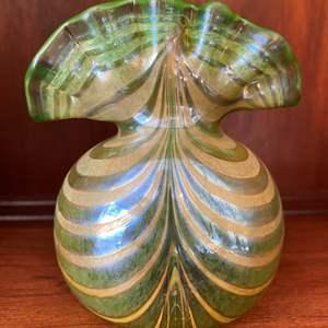 Lot # 77 Original Czech Silver Glass Ruffle Vase