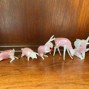 Lot # 79 Pink and White Glass Miniature Animal Figurines