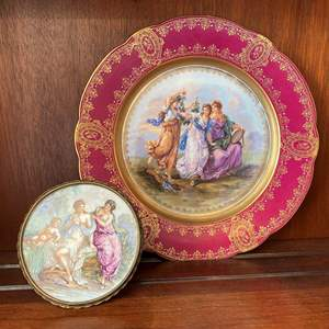Lot # 81 Limoges Hand-Painted Framed Ceramic and Imperial Austria Decor Plate