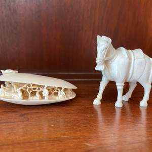 Lot # 83 Miniature Carved Shell and Horse Figurine