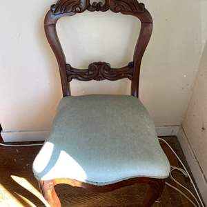 Lot # 87 Beautiful Wood Upholstered Seat Vintage Chair