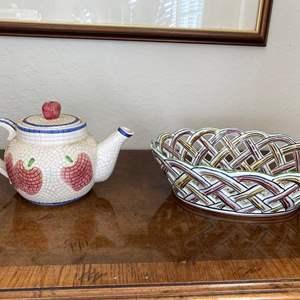 Lot # 91 Lot of World Bazaar Tea Pot & Portugal Ceramic Bread Bowl