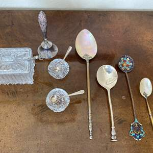 Lot # 98 Crystal Salt & Sugar with Sterling Spoons, Sterling Service Bell, & Collection of Spoons