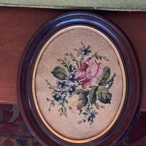 Lot # 100 Vintage Rose Design Needlepoint