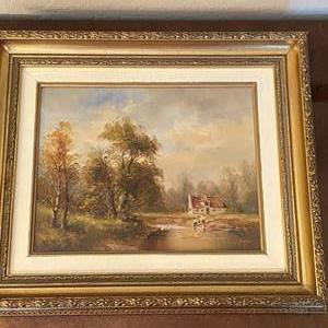 Lot # 101 Country Home Oil Painting, Artist Signed