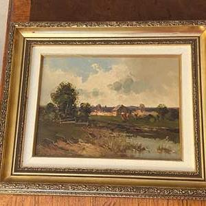 Lot # 102 Country Farm, Barn, Animals Oil Painting, Artist Signed
