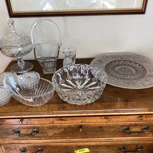 Lot # 105 Lot of Lead Crystal Candy Dish, Platter, Bowls, Coasters, etc