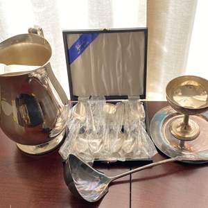 Lot # 109 Silver-Plate Lot: Pitcher, Wine Cup, Spoons, etc