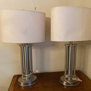 Lot # 116 Pair of 2 Silver-Tone Lamps