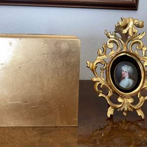Lot # 125 Vintage Gold-Tone Frame and Napkin Cover