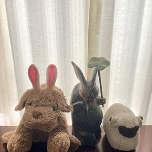 Lot # 137 Lot of Stuffed Animals and Rabbit Garden Ornament