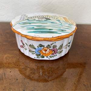 Lot # 146 Guerrier Murano Ceramic Covered Trinket Dish