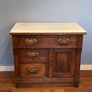 Lot # 151 Marble Top Wood Cabinet