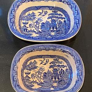 Lot # 156 Lot of 2 Allertons  England Willow Blue Bowls