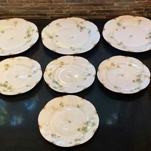 Lot # 157 Lot of Haviland & Co Limoges France Green Floral Set of Plates