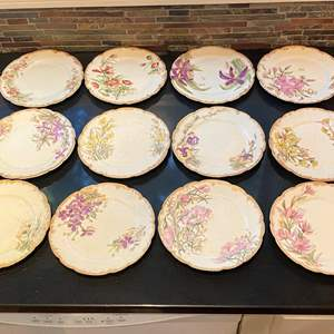 Lot # 159 Lot of Floral Small Plates Signed H.P.W France