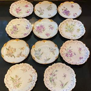 Lot # 160 Lot of Floral Small Plates all Marked H.P.W Limoges France