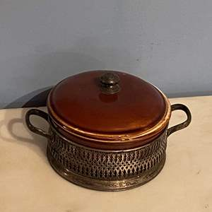 Lot # 166 Brown Pottery Signed Royal Luxemburg Small Covered Bowl