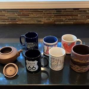 Lot # 168 Lot of Coffee Mugs and Brown Bamboo Style Tea Kettle