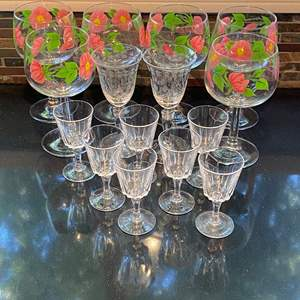 Lot # 169 Lot of 2 Sets of Stemware: Franciscan and Etched Crystal