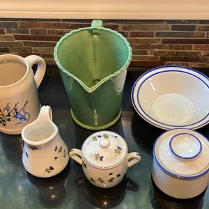 Lot # 171 Lot of Pottery/Stoneware Miscellaneous Floral Set Marked Pillivuyt France