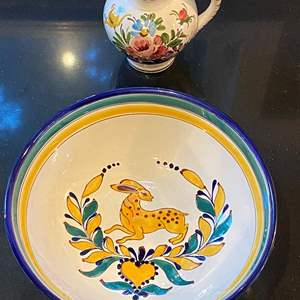 Lot # 173 Lot of 2 Hungary Pottery Serving Bowl and Floral Marked Ulmar Pottery Small Pitcher