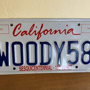"""Lot # 179 Personalized """"WOODY58"""" California License Plate"""
