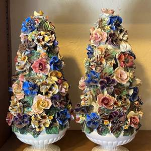 Lot # 185 Lot of 2 Capodimonte Italy Floral Trees