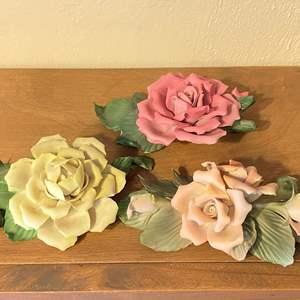 Lot # 190 Lot of 3 Capodimonte Rose Figurines
