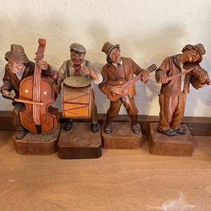 Lot # 196 Men Playing Instruments Wood Figurines