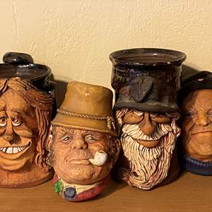 Lot # 204 Lot of Bossons Chalkware Heads and Ceramic Face Mugs