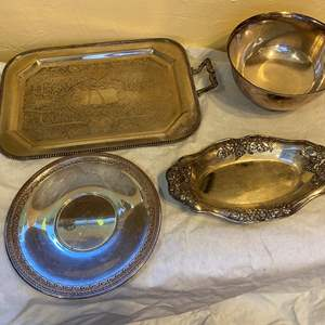 Lot # 208 Lot of Silver-Plate Serving Dishes