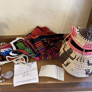 Lot # 211 Woven Basket with Tapestries and Necklace