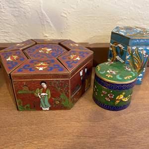 Lot # 212 Asian Enamel Trinket Boxes