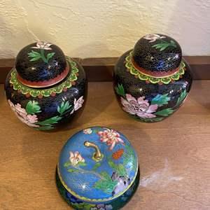 Lot # 213 Asian Enamel Vases and Trinket Boxes
