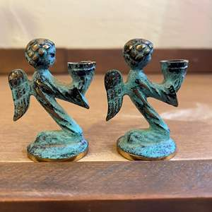Lot # 215 Miniature Brass? Angel Candle Holders Marked West Germany