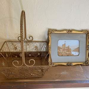 Lot # 220 Gold-Tone Basket and Castle Carving Picture